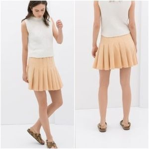 ZARA Peach Sherbet Pleated Mini Skater Skirt Large